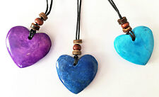 Fair Trade Stone Boho Love Heart Pendant Thong Necklace in Gift Pouch