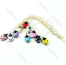 Cute Ladybug Shaped Necklace Chain Pocket Quartz Pendant Watch Kids Gift