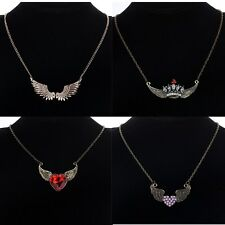 Angel Wings Crystal Pearl Love Heart Crown Pendant Necklace Sweater Chain Gift