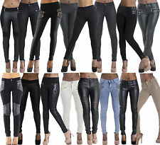 SALE Ladies Womens New Black Leather Look Sexy Leggings Trousers Pants size 6-22