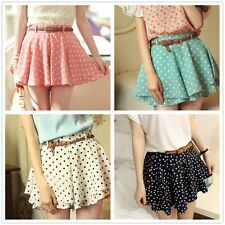 New Mini Retro Pleated Polka Dot Chiffon Divided w/Belt Dress Short Culottes