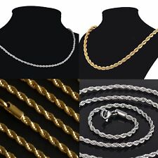 """NEW Gold Plated 20"""" 22 24"""" Stainless Steel 2.3mm Mens Rope Chain Women Necklace"""