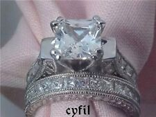 Stunning Sterling Silver Princess Cut Cz Engagement Wedding Ring Set 5 6 7 8 9