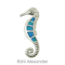 925 Sterling Silver and Opal Gemstone Sea Horse Slide Pendant or Necklace