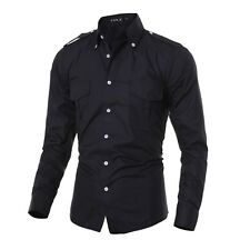 Mens Fashion Military Dress Shirt Epaulet Double Pockets Formal Tops Solid Shirt