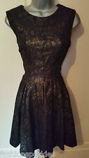 BNWT New NEXT Black Gold Layered Lace Empire Line Skater Dress 10 14 16 18 £58