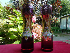 A Pair Of Very Pretty  Murano Purple Cranberry Glass Vases With Applied Flowers
