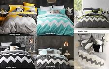 NEW Marley Chevron Zig Zag Super King Size Quilt / Doona Cover Set Logan & Mason
