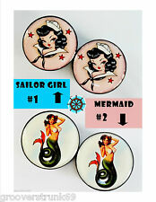 Vintage Tattoo Pinup Mermaid Sailor Girl Flesh Tunnels Unisex Stretchers Plugs
