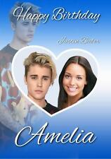 PERSONALISED JUSTIN BIEBER PHOTO HEART BIRTHDAY ANY OCCASION CARD