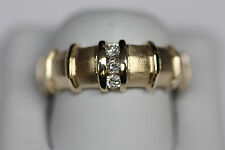 HEAVY 14K YELLOW GOLD DIAMOND MENS WEDDING BAND RING SIZE 9 3/4