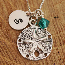 925 Sterling Silver Personalised Sand Dollar Pendant Necklace & Birthstone w Box