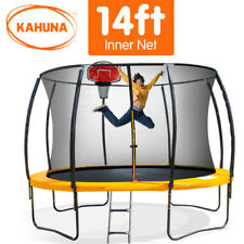 14ft Round Trampoline Spring Free Safety Net Pad Cover Mat Ladder Basketball Set