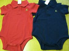 NWT Baby Gap Polo Styled Pique Knit NAVY BLUE or RED Bodysuit  6-12 months