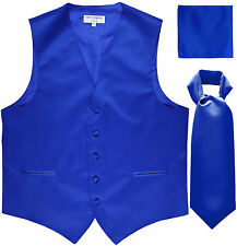 New Men's royal blue formal vest Tuxedo Waistcoat ascot & hankie set prom