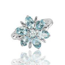 Natural Gemstone Sky Blue Topaz Solid 925 Sterling Silver Flower Ring (gr487)