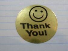 """Smiley Face Thank You 1.5"""" inch Pick Your Color!  (25/50/100 labels)"""