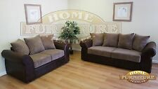 AMELIA 2 AND 3 SEAT SOFAS BROWN FAUX LEATHER WITH BROWN SCATTERS
