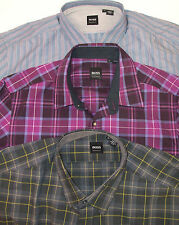 NWT Hugo Boss Cotton LUCAS Shirt $145-165 Regular Fit Striped Plaid  Purple Blue