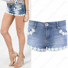 NEW LADIES BLUE WASH DENIM DAISY FLORAL LACE HOTPANTS WOMENS STRETCH JEAN SHORTS
