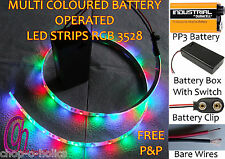CHRISTMAS MULTICOLOURED RGB LED STRIP LIGHTS 9V PP3 BATTERY OPERATED