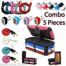 Combo 5 Pieces USB Cable, Audio Cable, Cover ,Car & Wall Charger for Moto G