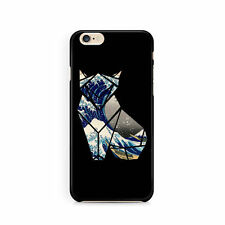 Fox origami cell phone case in BLACK, Japanese art, Apple iphone, Samsung Galaxy