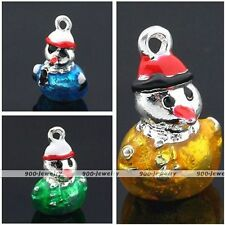 5x Christmas Enamel Alloy Snowman Pendant Charms Beads Findings Jewelry DIY Gift