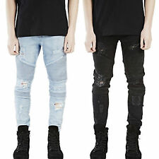 Mens Distressed Straight Slim Biker Jeans Destroyed Pants Ripped Washed Trousers