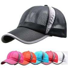 Mens Womens Baseball Cap Mesh Golf Sport Curved Visor Sun Hat Adjustable Unisex