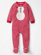 NWT Baby Gap Red & White Striped Christmas SNOWMAN BLANKET SLEEPER Size 3 or 4