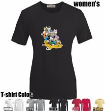 Disney Mickey Minnie Donald Duck Pattern Girls Shirt Ladys  Design T-shirt
