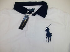 Polo Ralph Lauren White Rugby Shirt Blue Big Pony Collar  $125 Red #3 NWT  Large