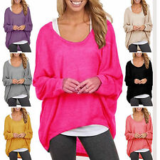 Plus Size Womens Loose Long Sleeve Sweater Shirt Blouse Baggy Tops Jumper Casual