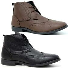 Mens Ankle Boots New Smart Formal Brogue Combat Casual Lace Ankle Boots Shoes