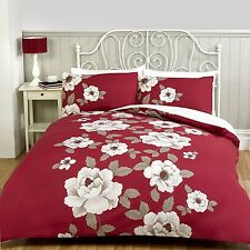 CLASSIC FLORAL PRINT DUVET QUILT COVER BEDDING + PILLOWCASES BED LINEN SET RED