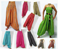 VERY LONG HAREM PANTS BAGGY YOGA GENIE JUMPSUIT COTTON STRIPED HANDMADE 45""