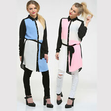 NEW LADIES MULTI COLOUR BLOCK SHIRT DRESS WOMENS LONG SLEEVED BELTED BLOUSE TOP