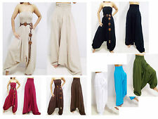 VERY LONG HAREM PANTS YOGA GENIE JUMPSUIT COTTON FLOATY LIGHT HANDMADE 45""