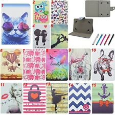 """Colorful Universal Buckle Folio Cover Leather Case For 7"""" Inch Tablets PC+Stylus"""