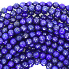 "Faceted Lapis Lazuli Round Beads Gemstone 15"" Strand 4mm 6mm 8mm 10mm 12mm"