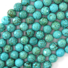 """Faceted Green Turquoise Round Beads Gemstone 15.5"""" Strand 4mm 6mm 8mm 10mm 12mm"""
