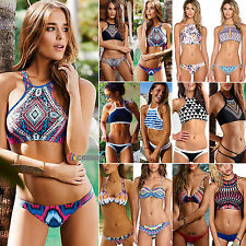 Sexy Womens High Neck Push Up Swimwear Bikini Set Bra Swimsuit Padded Beachwear