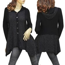 BLACK POLKA DOT BUTTON UP HOODIE LONG SLEEVE TUNIC TOP 3180 SIZE L XL XXL