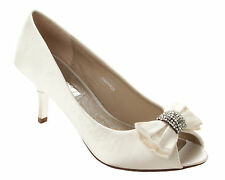 WOMENS IVORY SATIN DIAMANTE BRIDAL WEDDING EVENING PARTY SHOES LADIES SIZE 3-8