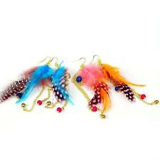 New Fashion Long Feather Colorful Beads Chain Dangle Chandelier Earrings W7B2