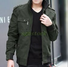 Mens Spring Coat Cotton Slim Fit Military Jacket Coat Thin Work Jacket Outwear