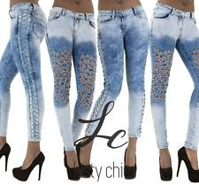 Womens Low Rise Faded Acid Wash Denim Ripped Lace-up Skinny Jeans Size 6 8 12 14