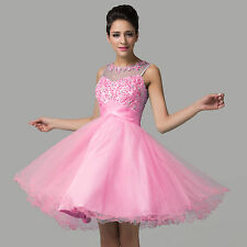 Tulle Beaded Bridesmaid Dress Short Formal Prom Party Dresses Cocktail Ball Gown
