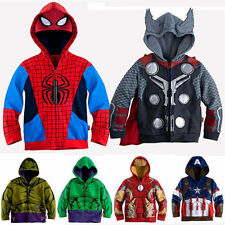 Kids Boys Spiderman Thor Cosplay Party Hoodie Coat Jacket Superhero Sweatshirt